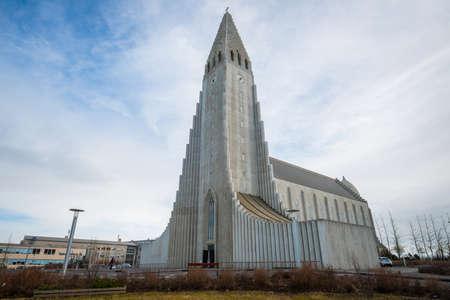 Reykjavik, Iceland - March 27 2016: Hallgrimskirkja the iconic church in Reykjavik the capital cities of Iceland. Editöryel