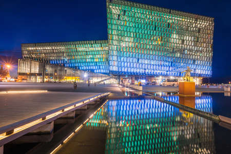 Reykjavik, Iceland - March 27 2016: Harpa concert hall one of the iconic place of Reykjavik, Iceland.