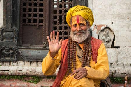 KATHMANDU, NEPAL - APRIL 17 2016: Sadhu (Yogi or holy man) in Pashupatinath Temple the world heritage sites in Kathmandu the capital cities of Nepal.