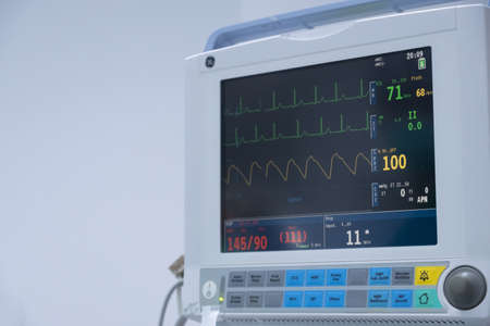 The Vital signs monitor in operating room in hospital. Vital signs monitor using for measure pulse oximetry, non-invasive blood pressure, temperature, EtCo2, respiration and etc.
