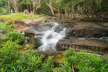 Kbal Spean the mystery waterfall on Kulen mountains range of the ancient Khmer empire  in Siem Reap province of Cambodia. 免版税图像