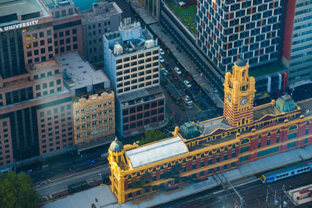 Melbourne, Australia : April-04-2015 : High angle view of Flinders street station view from the top of Eureka tower the highest buildings in Melbourne, Australia.