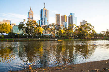 Melbourne cityscape with Yarra river during the sunrise in Victoria state of Australia. Melbourne is the capital city of Victoria, and Australia's second-largest city.