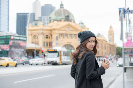 Portrait of Asian woman travel in Melbourne the most liveable city in the world of Victoria state of Australia.
