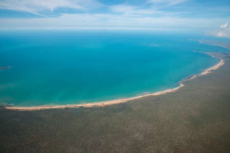 The beautiful scenery view at the edge of northern part of Australia called Arafura sea, Northern Territory state of Australia view from airplane.
