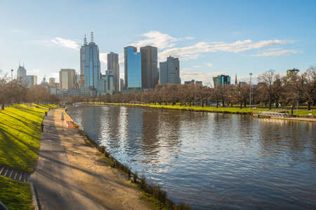 The cityscape of Melbourne the most liveable city in the world, Victoria state, Australia. 免版税图像