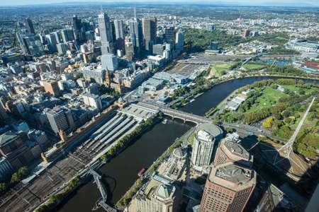 MELBOURNE, AUSTRALIA - FEBRUARY 20 2016: Melbourne cityscape the most liveable city in the world with high angle view from the top of Eureka tower the tallest building in Melbourne.