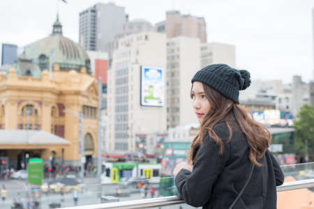 Portrait of Asian woman traveling in Melbourne the most liveable city in the world of Victoria state of Australia.