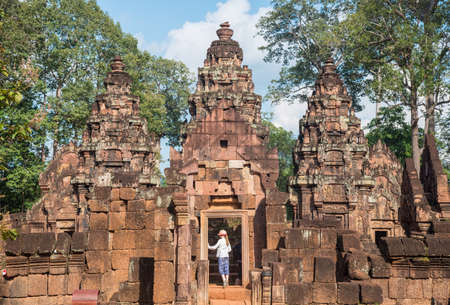 Banteay Srei the gem of Khmer empire this place is the only one temple made by pink sandstone in Siem Reap, Cambodia. 新闻类图片