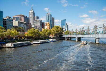MELBOURNE, AUSTRALIA - FEBRUARY 20 2016: Scenery view of Melbourne cityscape and Yarra river.