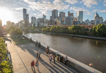 MELBOURNE, AUSTRALIA - FEBRUARY 20 2016: Melbourne cityscape the most liveable city in the world.