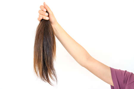 Cropped view of someone hand holding a ponytail cutting hair for donation. Usable hair can turn your long locks into free or low-cost wigs for people with cancer. Reklamní fotografie