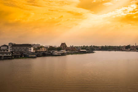 chao phraya river: Sunset at Chao Phraya river side