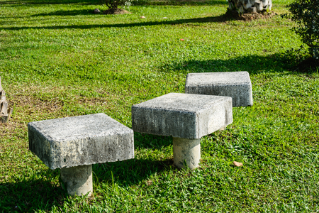 gass: stylish bench in summer park Stock Photo