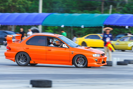 Photography Panning Car Drifting , Photography with Panning of Car Drifting,Car brand Subaru Impreza Editorial