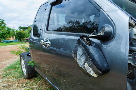 Car mirror Broken. Standard-Bild