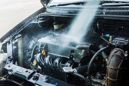 Car engine cleaning Car wash engine.