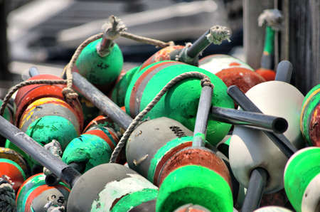 buoys: Stack of fishing buoys