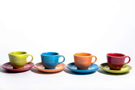 Set of Colorful cups and saucers Stok Fotoğraf