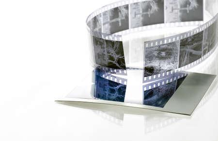 35mm film negative reflected onto instant film