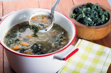 Kale and White bean vegetable soup  Stock Photo
