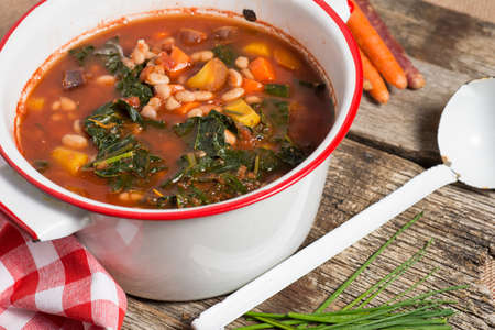 Fresh Kale and Bean soup with carrots vegan soup