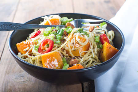 angel hair: Bowl of pesto angel hair with roasted butternut squash
