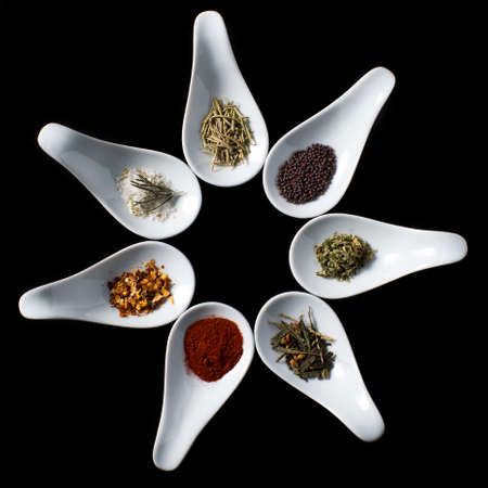 and savory: Tasting spoons with cooking savory spices Stock Photo