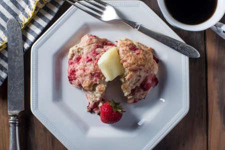 scones: Fresh scones strawberry rosemary dessert