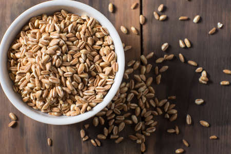 Bowl of fresh farrow grains healthy eating Stock Photo