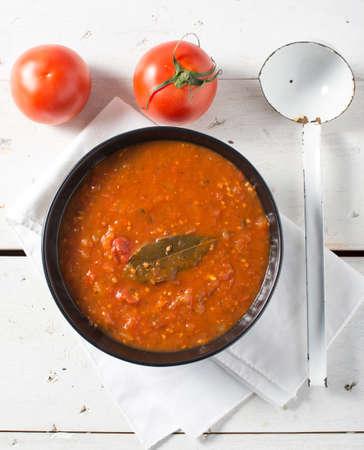Fresh red garden tomto sauce raw ingredient healthy
