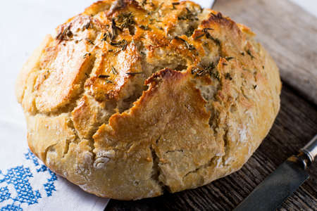 Artisan rustic crusty bread baked in dutch oven