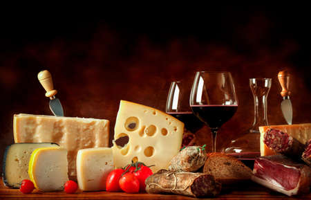sweet red wine and soft cheese.