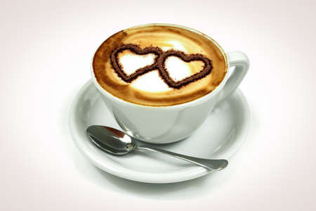 crema: latte art on white background.