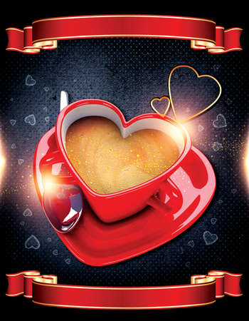 Heart shaped coffee cup on background. Stock Photo