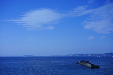 The blue sky and the sea in Hayama