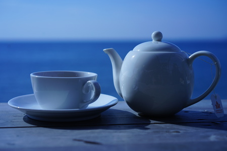 Drinking tea by the sea of Hayama