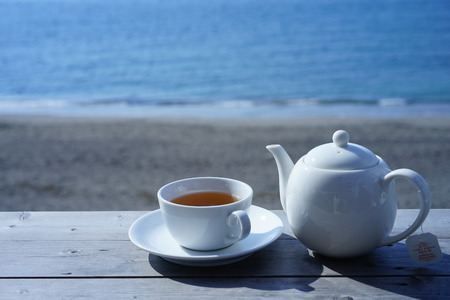 Drinking tea by the sea of Hayama