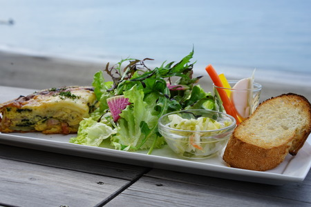 Foods served in the cafe by the ocean
