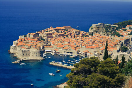 Panoramic view of city with blue water, Dubrovnik, Croatia photo