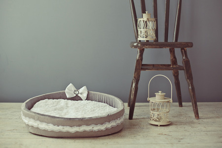 Gray pet mattress with chair in interior photo