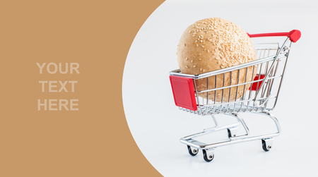 Bin with sesame in shopping cart - already done model of design with sample text photo