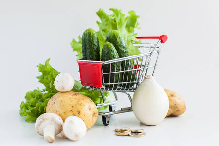 Shopping cart with vegetables and coins near it photo