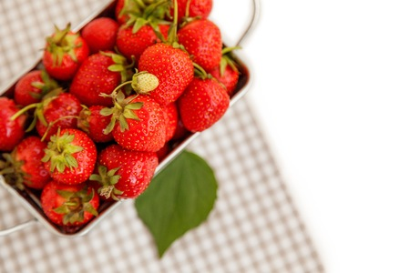 harvest background: Harvest background: ripe strawberry in the metal box Stock Photo