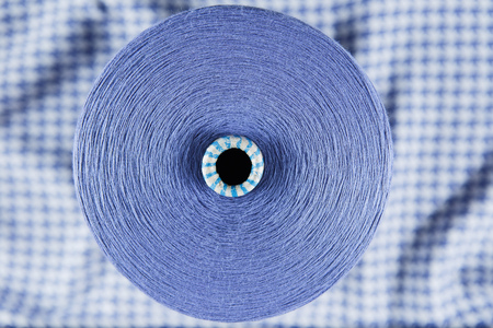 Violet colour skein on the textile background Stock Photo