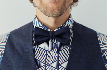 Man with beard wearing bowtie, hipster style