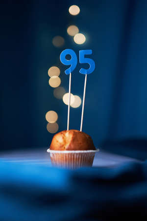 Birthday cake or muffin with ninety five (95) number and blurred lights on the blue background. Birthday or anniversary concept