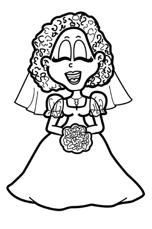 Smiling bride for coloring book Stock Vector - 13262211
