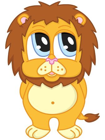 shy cute cartoon lion