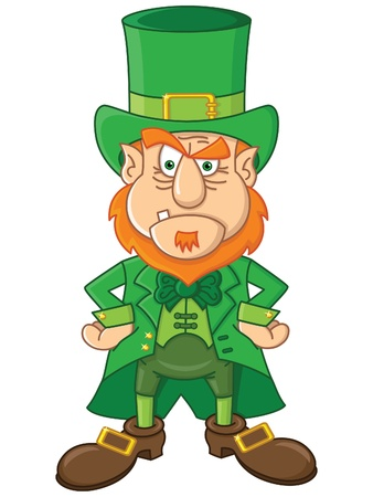 perturbed: Cute cartoon angry Leprechaun Illustration